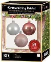 Witte lichtroze oud roze kerstballen pakket 91 delig voor 150 cm boom