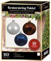 Witte mahonie bruine donkerblauwe kerstballen pakket 91 delig voor 150 cm boom