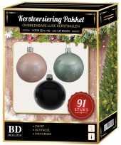Witte mint zwarte kerstballen pakket 91 delig voor 150 cm boom