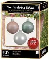 Witte mintgroene lichtroze kerstballen pakket 133 delig voor 180 cm boom