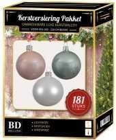 Witte mintgroene lichtroze kerstballen pakket 181 delig voor 210 cm boom