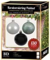 Witte mintgroene zwarte kerstballen pakket 130 delig voor 180 cm boom