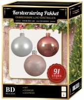 Witte oud roze lichtroze kerstballen pakket 91 delig voor 150 cm boom