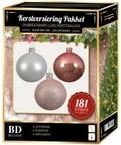 Witte oudroze lichtroze kerstballen pakket 181 delig voor 210 cm boom