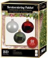Witte rode donkergroene kerstballen pakket 91 delig voor 150 cm boom