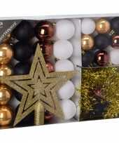 Woods classics kerstboom decoratie 33 delig goud zwart wit